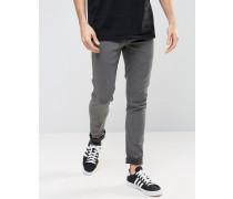 Solid Enge Stretch-Jeans in verwaschenem Schwarz Schwarz