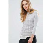 Pullover mit Stickerei-Muster Grau