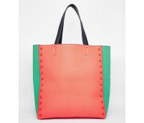 Shopper-Tasche mit Blockstreifen Orange
