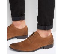 Hellbraune Oxford-Schuhe in Wildlederoptik Bronze
