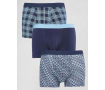 Karierte Unterhose mit blauem Muster Mehrfarbig