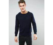 Strukturierter Pullover mit Rundhalsausschnitt Blau