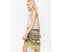 Sommerkleid mit bedruckter Oberlage Mehrfarbig