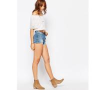 Shorts mit Fransensaum und niedrigem Bund Blau