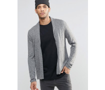 Strickjacke mit Schalkragen aus Wollmischung mit Merinowolle Grau