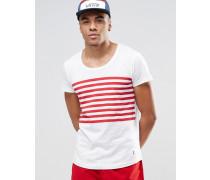 Gestreiftes Strand-T-Shirt mit U-Ausschnitt Kombiteil Weiß