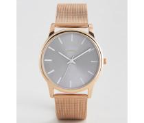 Armbanduhr mit Netzband in Roségold, exklusiv bei ASOS Gold