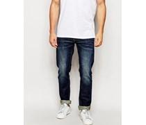 Twister Schmal geschnittene Stretch-Jeans in dunkler Waschung Blau