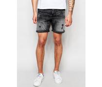 Jeansshorts in verwaschenem Schwarz Schwarz