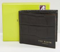 Zweifach gefaltene Brieftasche in Krokooptik Schwarz