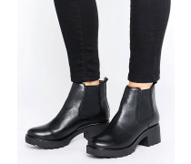 Manuan Chelsea-Boots aus Leder mit breiter Sohle Schwarz
