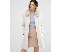 Ausgestellter Mantel mit Kunstpelzkragen Beige