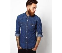 Schmales Western-Jeanshemd in mittelblauer Stonewash-Optik Blau