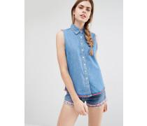 Ärmelloses Jeanshemd mit markentypischem Print hinten Mehrfarbig