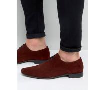Spitze Derby-Schuhe aus Wildleder in Burgunderrot Rot