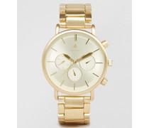 Armbanduhr aus gebürstetem Gold Gold