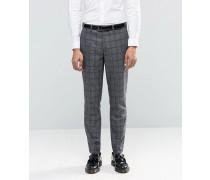 Heritage Karierte Anzughose aus hochwertiger Wolle Grau