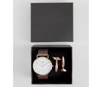 Klassische Netzarmbanduhr und Manschettenknöpfe in Roségold im Geschenkset Gold