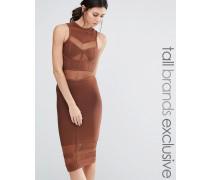Mittellanges Bandage-Kleid mit Netzstoffeinsätzen Braun