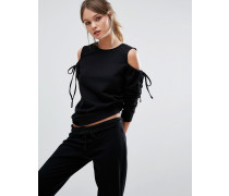 Pullover mit Schulterausschnitten und Schnürung Schwarz
