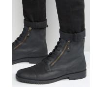 Geschnürte Stiefel aus schwarzem Leder mit Doppelreißverschluss Schwarz