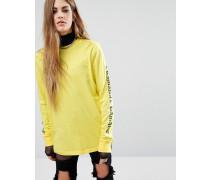 Langärmliges Oversize-Shirt mit Gothik-Textprint an den Ärmeln Gelb