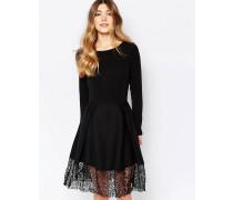 Hepburn Kleid mit Spitzensaum Schwarz