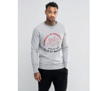 Sweatshirt mit Pferdemotiv und Stickerei Grau