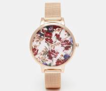 Uhr mit geblümtem Zifferblatt und Netzarmband in Roségold Mehrfarbig