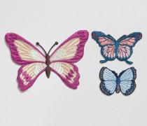 Gestickte Aufnäher mit Schmetterlingsdesign Mehrfarbig