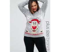 Plus Ruldoph Merry Christmas Weichnachtspullover Grau