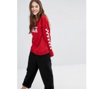 Sweatshirt mit Rundhalsausschnitt, rotem Logo und karierten Ärmeln Rot