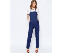 Jeans-Latzhose mit Neckholderträger Blau