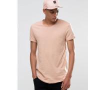 Lang geschnittenes T-Shirt mit ungesäumter Kante Rosa