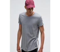 Lang geschnittenes T-Shirt mit ungesäumter Kante Grau