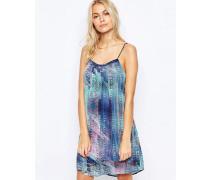Ausgestelltes Trägerkleid mit skaliertem Print Blau