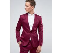 Sehr enge Anzugjacke aus Baumwollsatin in Beerenrot Violett