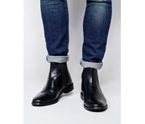 Chelsea-Stiefel aus Leder Schwarz