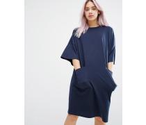 Oversize-T-Shirt-Kleid mit Taschen Marineblau