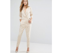 Wickel-Overall im Pyjama-Stil Silber