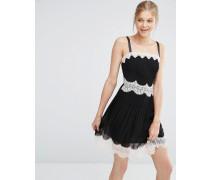 Minikleid mit Trägern und Spitzenbesatz Schwarz