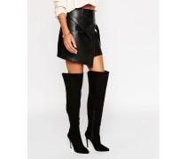 Overknee-Stiefel mit kontrastierendem Absatz Schwarz