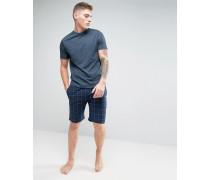 Marineblauer Schlafanzug mit karierter Shorts Blau
