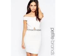 Bardot-Kleid mit verzierter Taille Weiß
