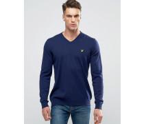 Marineblauer Pullover mit V-Ausschnitt aus Baumwolle/Merinowolle Marineblau