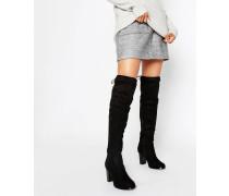 Overknee-Stiefel mit Absatz und Schnürdesign Schwarz