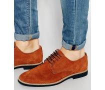 Derby-Schuhe aus hellbraunem Wildleder mit Kontrastsohle Steingrau