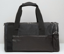 Reisetasche aus Kunstleder und Wildleder Schwarz