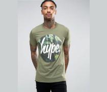 T-Shirt mit Blätterkranz-Logo Grün