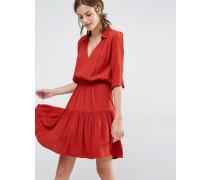 Laura Kleid mit gestuftem Rock Rot